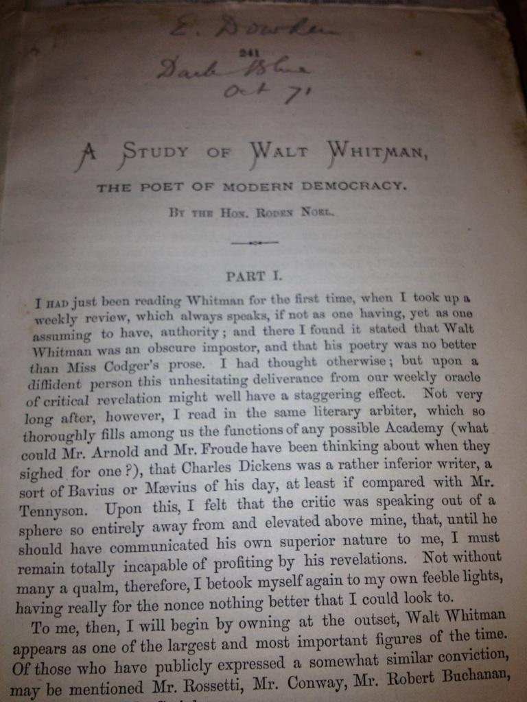 an essay on whitmans democracy Whitman's interest in democracy and american political events and issues is revealed in his poetry and is a major focus of criticism democratic vistas (essay) 1871 passage to india (poetry) 1871 specimen days & collect (essays and journals) 1882-83.