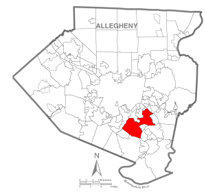 Map of Allegheny, Pennsylvannia via Wikipedia commons, Public Domain