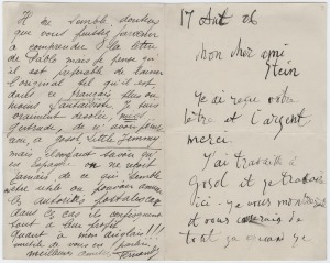 Letter to Gertrude Stein from Pablo Picasso, c. 1906, from Gertrude Stein and Alice B. Toklas Papers, Yale Collection of American Literature in Beinecke Rare Book and Manuscript Collection.