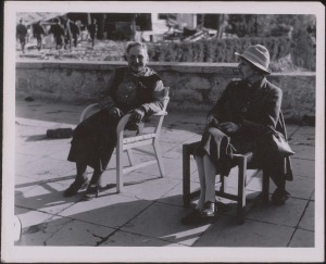 Photograph of Gertrude Stein and Alice B. Toklas on a Patio in Berchtesgaden, c. 1940 from Gertrude Stein and Alice B. Toklas Papers, Yale Collection of American Literature in Beinecke Rare Book and Manuscript Collection. Photo illustrates their long relationship