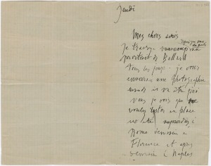 Letter to Gertrude Stein and Leo Stein from Pablo Picasso, c. 1910,