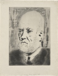 Portrait of Vollard by Picasso from Edward Greene Collection of Portrait Engravings from the Yale Collection of American Literature in Beinecke Rare Book and Manuscript Collection.