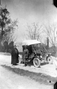"Gertrude Stein and Alice B. Toklas with their Ford truck used to deliver supplies, ""Auntie"" Photograph, c. 1918 Courtesy Gertrude Stein and Alice B. Toklas Papers Yale Collection of American Literature Beinecke Rare Book and Manuscript Library, New Haven via Yale University Library"