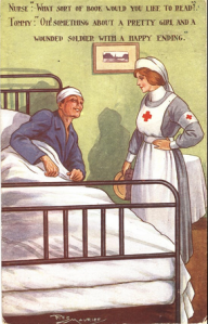 "Figure 4. ""Oh, something about a pretty girl and a wounded soldier with a happy ending"", ca. 1918 Created by Rez Maurice. Via The Regent Publishing Co. Ltd., London."