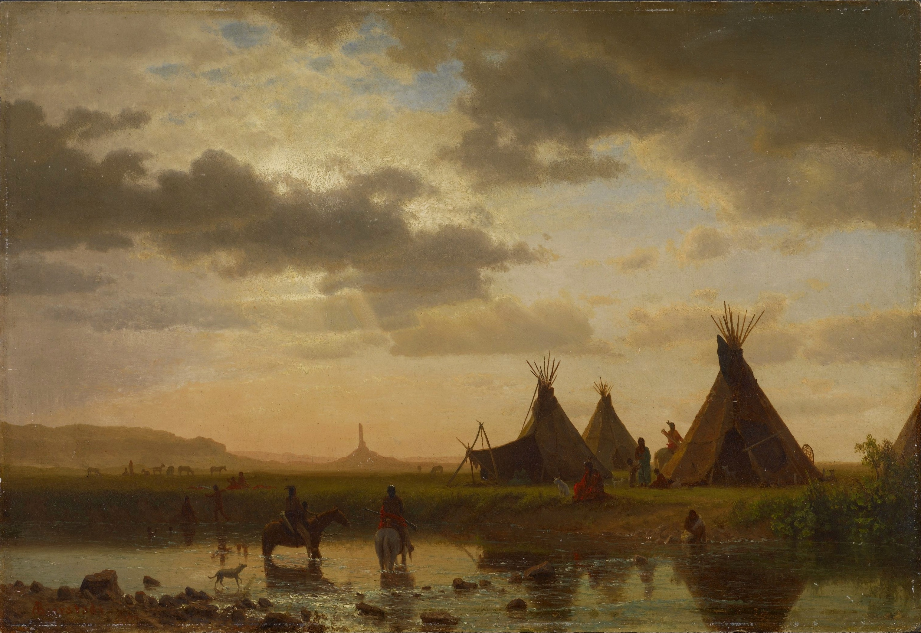 Albert Bierstadt, View of Chimney Rock, Ohalilah Sioux Village in the Foreground, 1860. Oil on canvas, 33.6 cm x 49.2 cm. Colby College Museum of Art, gift of The Honorable Roderic H.D. Henderson, via Wikimedia.